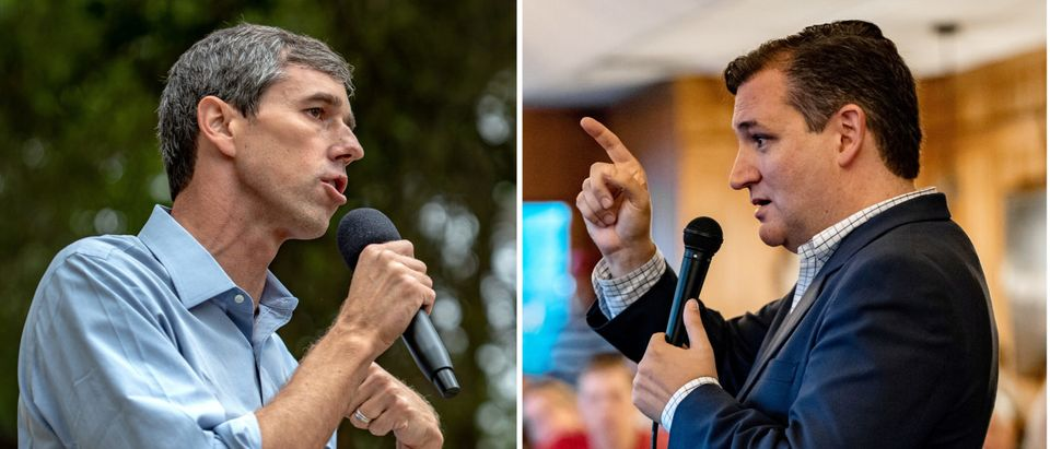 FILE PHOTO: A combination photo of Beto O'Rourke and Ted Cruz speaking to supporters in Texas