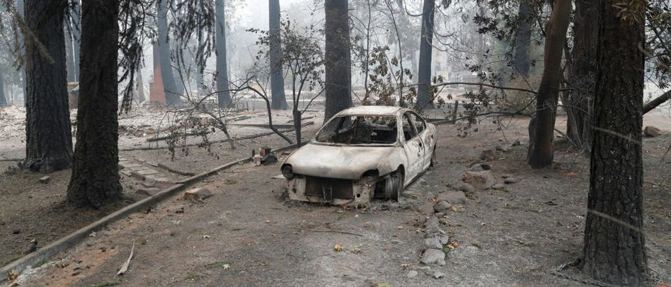 A car destroyed by the Camp Fire is seen in Paradise, California, U.S., November 13, 2018. REUTERS/Terray Sylvester