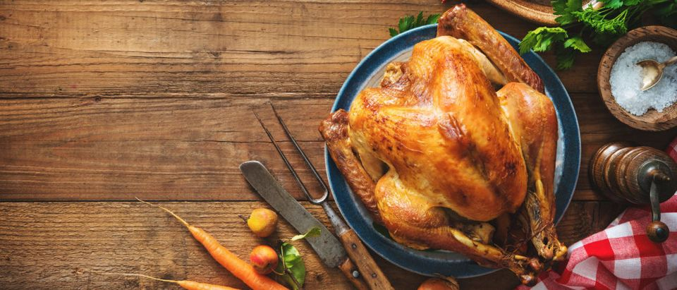 Christmas or Thanksgiving turkey on rustic wooden table -- ShutterStock -- By Alexander Raths