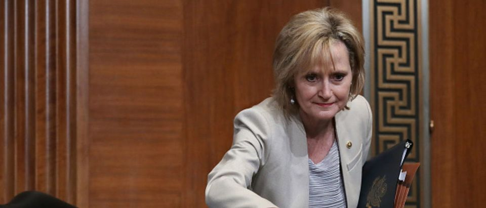 Cindy Hyde-Smith at hearing of the Senate Appropriations Committee's and Related Agencies Subcommittee with Interior Secretary Ryan Zinke -- Chip Somodevilla - Getty Images