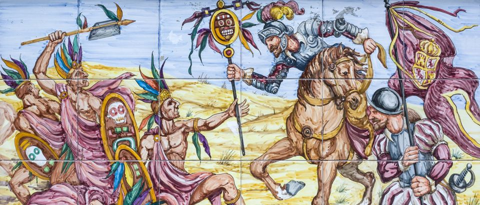 Conquistadors and natives in the Battle of Otumba (Shutterstock/Juan Aunion)