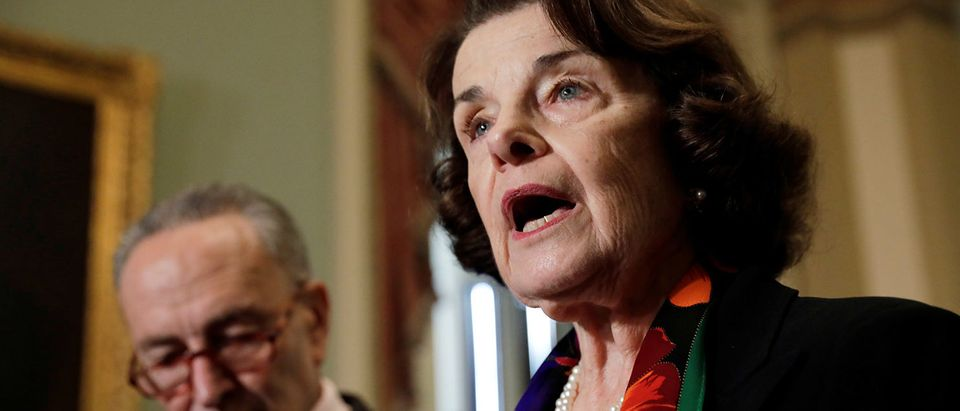 Senate Judiciary Committee ranking member Feinstein speaks to reporters on Capitol Hill in Washington
