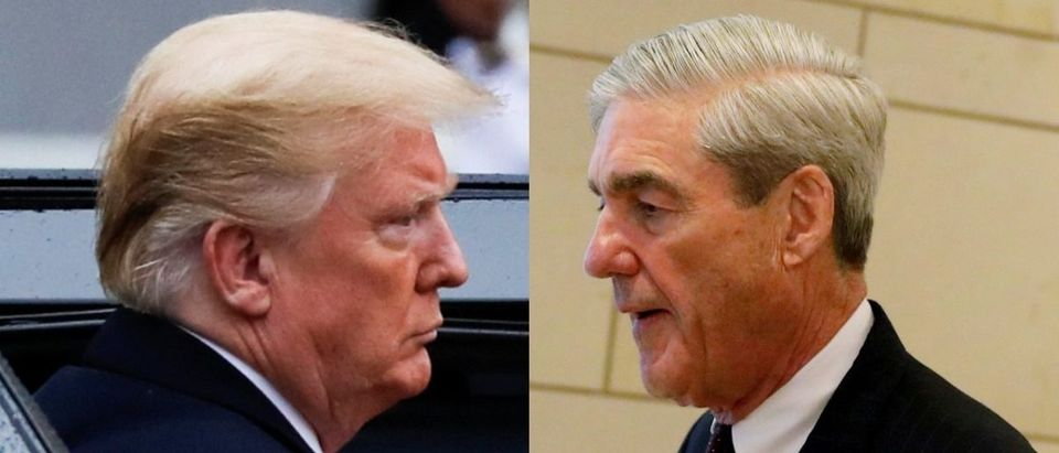 LEFT: President Donald Trump arrives at the Elysee Palace after the commemoration ceremony for Armistice Day, 100 years after the end of World War One, in Paris, France, November 11, 2018. REUTERS/Carlos Barria. RIGHT: Special Counsel Robert Mueller departs after briefing the U.S. House Intelligence Committee on his investigation of potential collusion between Russia and the Trump campaign on Capitol Hill in Washington, June 20, 2017. REUTERS/Aaron P. Bernstein