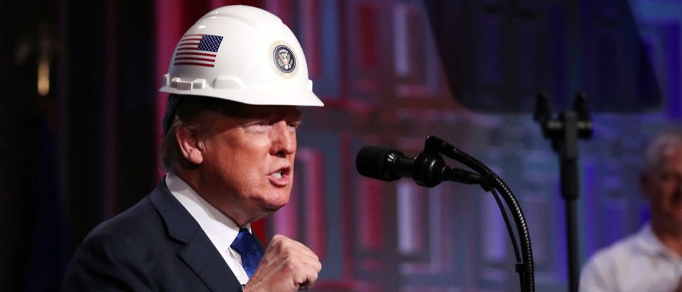 U.S. President Trump addresses the Electrical Contractors Association Convention in Philadelphia, Pennsylvania