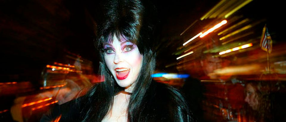 Elvira leads the annual Halloween Day parade along Sixth Avenue in New York, October 31, 2002. Halloween revelers flocked to Manhattan for the annual Halloween Day parade. REUTERS/Shannon Stapleton