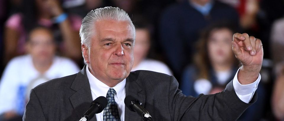 LAS VEGAS, NEVADA - OCTOBER 22: Clark County Commission Chairman and Democratic gubernatorial candidate Steve Sisolak speaks during a get-out-the-vote rally featuring former U.S. President Barack Obama at the Cox Pavilion as Obama campaigns for Nevada Democratic candidates on October 22, 2018 in Las Vegas, Nevada. Early voting in Clark County, Nevada began on October 20 and has recorded the highest turnout during the first two days of early voting in a midterm election. (Photo by Ethan Miller/Getty Images)