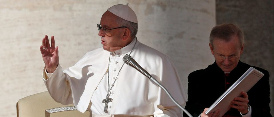 Pope Francis leads the weekly general audience in Saint Peter's Square at the Vatican