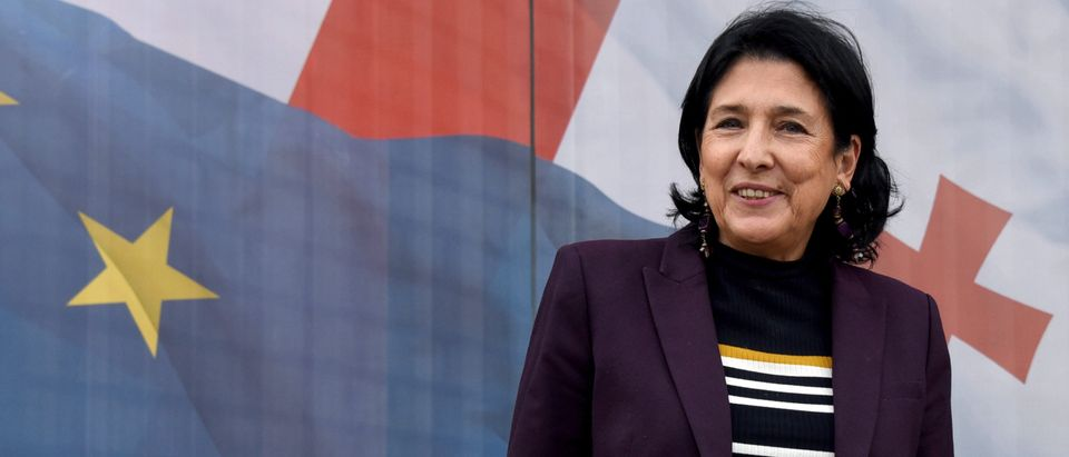 Pro-government presidential candidate Salome Zurabishvili poses outside her campaign office ahead of October 28 elections in Tbilisi on October 24, 2018. (Photo by Vano SHLAMOV / AFP) (Photo credit should read VANO SHLAMOV/AFP/Getty Images)
