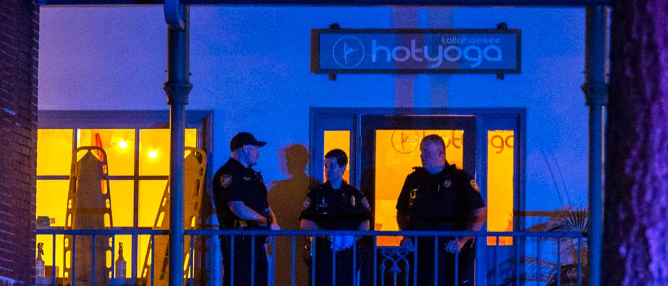 Tallahassee Police officers are stationed outside the HotYoga Studio after a gunman killed one person and injured several others inside on November 2, 2018 in Tallahassee, Florida. Mark Wallheiser/Getty Images