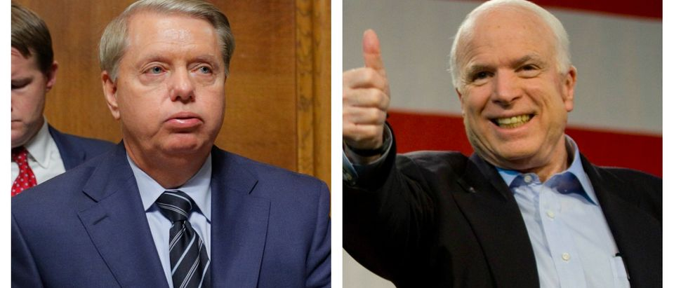 LEFT: U.S. Senator Lindsey Graham (R-SC) is seen during a break in a Senate Judiciary Committee confirmation hearing with U.S. Supreme Court nominee Brett Kavanaugh on September 27, 2018 in Washington, DC.(Jim Bourg-Pool/Getty Images) RIGHT: U.S. Sen. John McCain (R-AZ) and former Alaska Gov. Sarah Palin (L) attend a campaign rally at Pima County Fairgrounds on March 26, 2010 in Tucson, Arizona. (Darren Hauck/Getty Images)