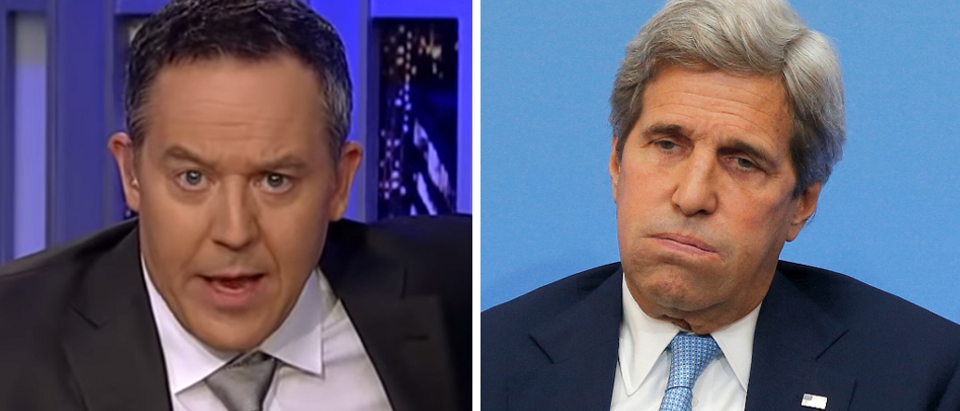 Greg Gutfeld (left - screengrab) John Kerry (right - Getty Images)