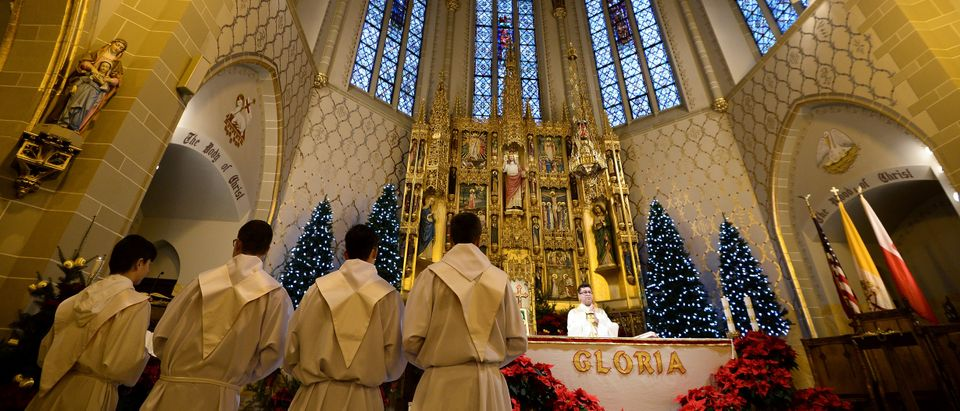 A priest says Sunday Mass at a Polish catholic church in Hamtramck, Michigan, on January 10, 2016. Known in the 20th century as a vibrant center of Polish American life and culture, Hamtramck - located on the outskirts of Detroit, has continued to attract immigrants. (JEWEL SAMAD/AFP/Getty Images)