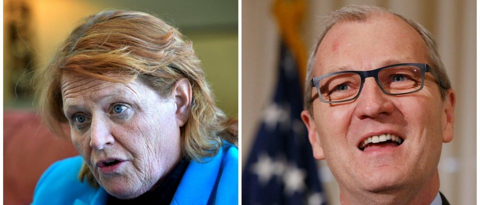 Democratic Sen. Heidi Heitkamp (L) and U.S. Rep. Kevin Cramer (R) Images via Reuters
