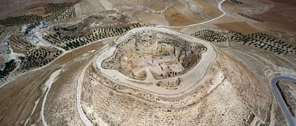 This handout photo provided by the Israeli Government Press Office (GPO) shows an aerial view of the man-made hilltop fortress of Herodion near the West Bank town of Bethlehem. Israeli archaeologist (Photo by Ya'akov Sa'ar/GPO via Getty Images)