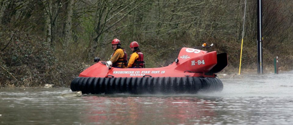 A hovercraft is used as search work continues in the mud and debris from a massive landslide that struck Oso near Darrington, Washington