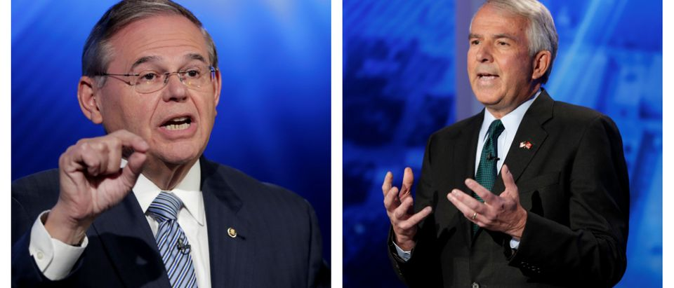 (L) New Jersey Sen. Bob Menendez, the Democratic candidate for the U.S. Senate race in New Jersey, speaks during a debate with Bob Hugin, the Republican candidate, in Newark, New Jersey, U.S., Oct. 24, 2018. Julio Cortez/Pool via Reuters. (R) Bob Hugin, the Republican candidate in the U.S. Senate race in New Jersey, speaks during a debate with Sen. Bob Menendez, the Democrat candidate, in Newark, New Jersey, U.S., Oct. 24, 2018. Julio Cortez/Pool via Reuters