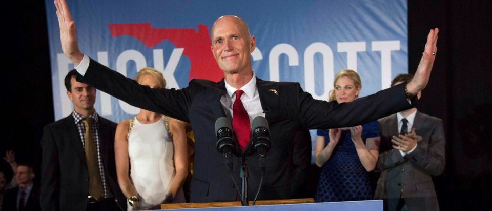 Florida Gov. Rick Scott gives his victory speech November 4, 2014 in Bonita Springs, Florida. Scott won a tight race against opponent Charlie Crist former Florida Gov. and Democrat gubernatorial candidate. (Photo by Erik Kellar/Getty Images)