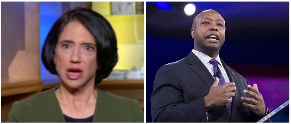 Jennifer Rubin and Sen. Tim Scott (LEFT: MSNBC Screenshot, RIGHT: SAUL LOEB/AFP/Getty Images