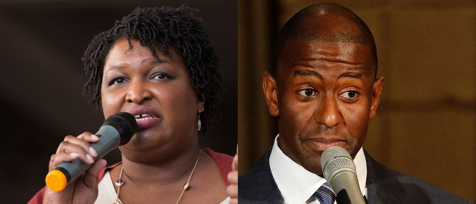 "(L to R) Defeated Democratic gubernatorial candidates Stacey Abrams of Georgia and Andrew Gillum of Florida voiced their opposition to a North Carolina judicial nominee for what they called a ""disregard for fundamental civil rights"" Tuesday. Jessica McGowan/Getty Images and Joe Skipper/Getty Images"