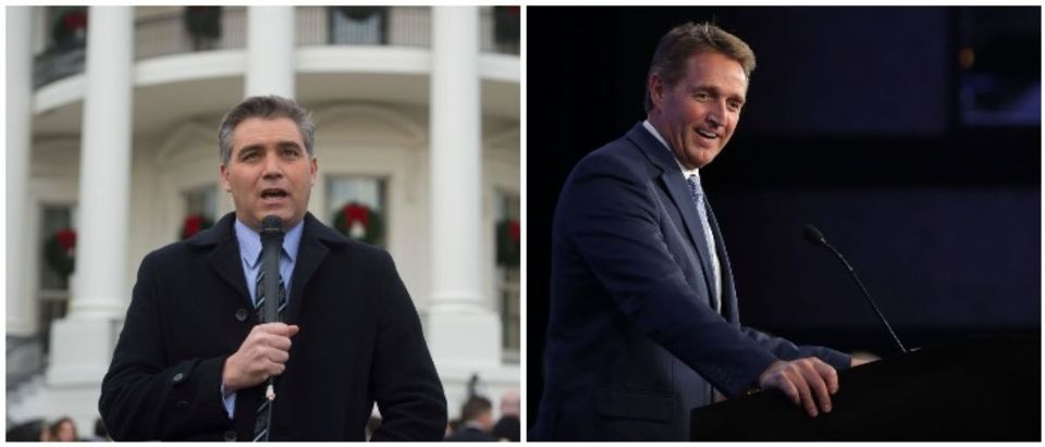 Jim Acosta and Jeff Flake (LEFT: SAUL LOEB/AFP/Getty Images RIGHT: Chip Somodevilla/Getty Images)