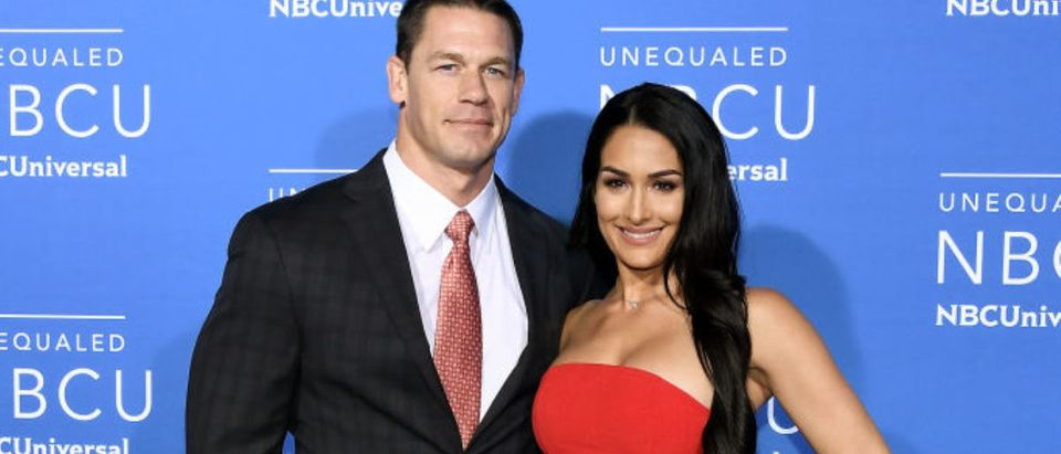 John Cena (L) and Nikki Bella attend the 2017 NBCUniversal Upfront at Radio City Music Hall on May 15, 2017 in New York City. (Photo by Dia Dipasupil/Getty Images)