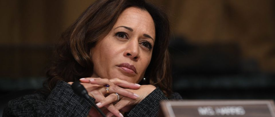 Sen. Kamala Harris listens as Christine Blasey Ford testifies before the US Senate Judiciary Committee in the Dirksen Senate Office Building on Capitol Hill Sept. 27, 2018 in Washington, D.C. (Saul Loeb-Pool/Getty Images)