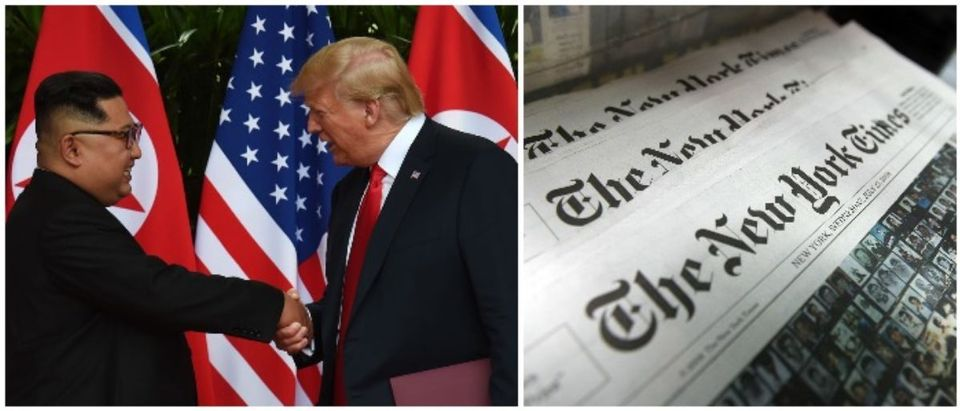 Kim, Trump and The New York Times (LEFT: ANTHONY WALLACE/AFP/Getty Images RIGHT: Mario Tama/Getty Images)