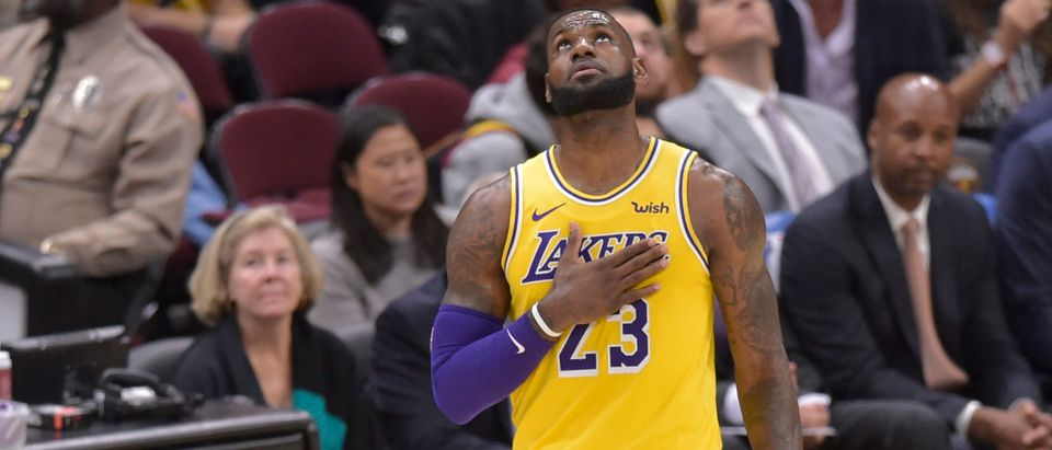 Los Angeles Lakers forward LeBron James (23) reacts in the third quarter against the Cleveland Cavaliers at Quicken Loans Arena, Nov. 21, 2018. Photo: David Richard-USA TODAY Sports