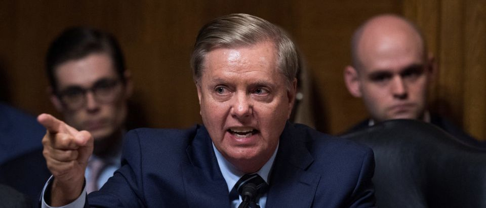 Sen. Lindsey Graham, R-S.C., defends Judge Brett Kavanaugh during the Senate Judiciary Committee hearing on his nomination be an associate justice of the Supreme Court of the United States, focusing on allegations of sexual assault by Kavanaugh against Christine Blasey Ford in the early 1980s, in Washington, DC, U.S., September 27, 2018. Picture taken September 27, 2018. Tom Williams/Pool via REUTERS