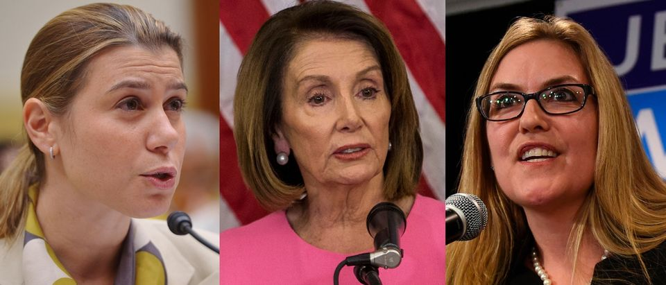(L to R): Elissa Slotkin, Nancy Pelosi and Jennifer Wexton will serve in the 116th Congress. ANDREW CABALLERO-REYNOLDS/AFP/Getty Images