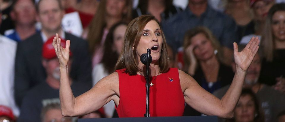 MESA, AZ - OCTOBER 19: U.S. Senate candidate Martha McSally, R-Ariz, speaks during a rally for President Donald Trump at the International Air Response facility on October 19, 2018 in Mesa, Arizona. (Photo by Ralph Freso/Getty Images)