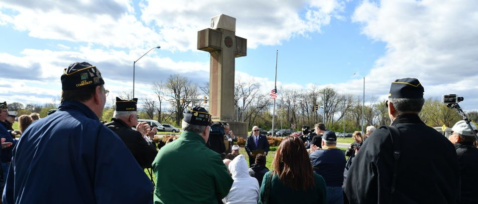 GOP Gov. Larry Hogan of Maryland speaks to veterans at the Bladensburg Peace Cross in April 2018. (Maryland GovPics/Flickr creative commons)