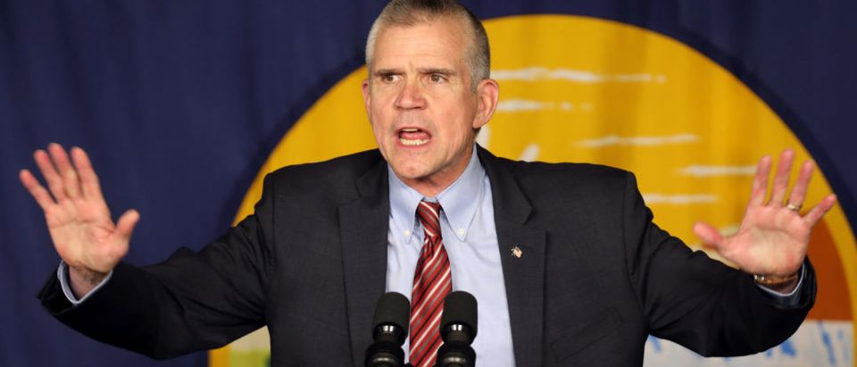 Republican Senate candidate Matt Rosendale speaks at rally in Bozeman, Montana