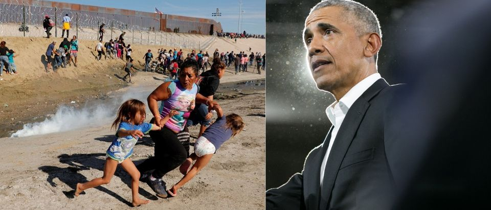 Barack Obama and the migrant caravan. LEFT: (Kim Kyung-Hoon/Reuters) RIGHT: (Photo by Jessica McGowan/Getty Images)