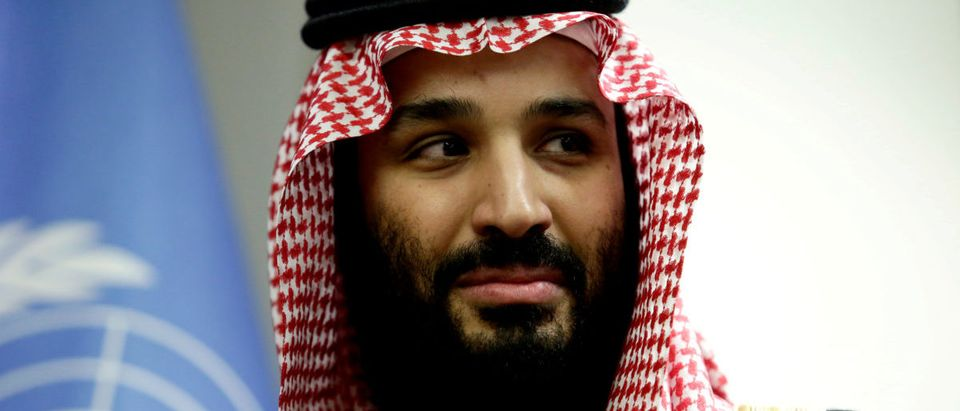 Saudi Arabia's Crown Prince Mohammed bin Salman during a meeting with U.N Secretary-General Antonio Guterres at the United Nations in New York on March 27, 2018. REUTERS/Amir Levy
