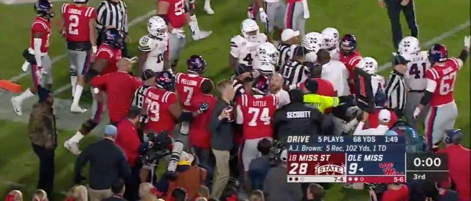 Ole Miss, Mississippi State Brawl (Credit: Screenshot/Twitter Video SportsCenter https://twitter.com/SportsCenter/status/1065813090015559681)
