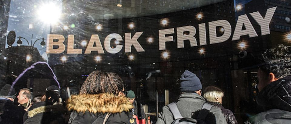 People shop on Black Friday on November 23, 2018 in New York City