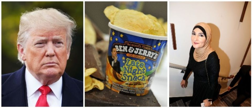 President Trump, Ben & Jerry's, Linda Sarsour (LEFT: (LEFT: Mike Coppola/Getty Images for Ben & Jerry's RIGHT: MANDEL NGAN/AFP/Getty Images)