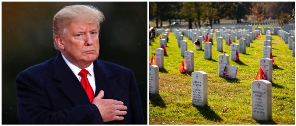President Trump and Arlington National Cemetery (LEFT: CHRISTIAN HARTMANN/AFP/Getty Images RIGHT: Al Drago/Getty Images)