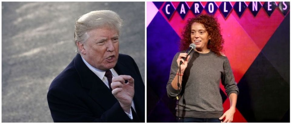 President Trump and Michelle Wolf (LEFT: Alex Wong/Getty Images RIGHT: Astrid Stawiarz/Getty Images for Ms. Foundation For Women)