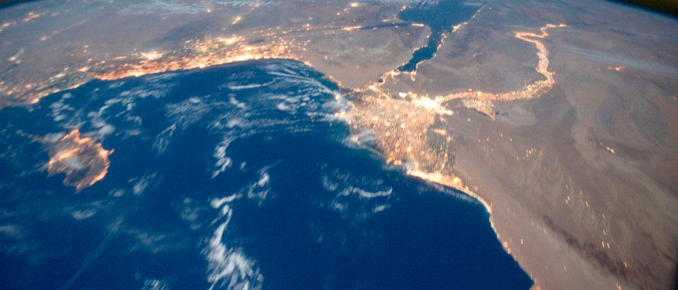 NASA handout photo shows Earth's airglow seen with an oblique view of the Mediterranean Sea area, including the Nile River with its delta, and the Sinai Peninsula taken from the International Space Station