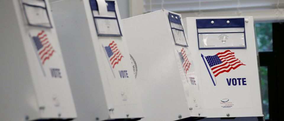 Voting booths are seen at a polling site during the New York State Democratic primary in New York City, U.S., September 13, 2018. REUTERS/Brendan McDermid