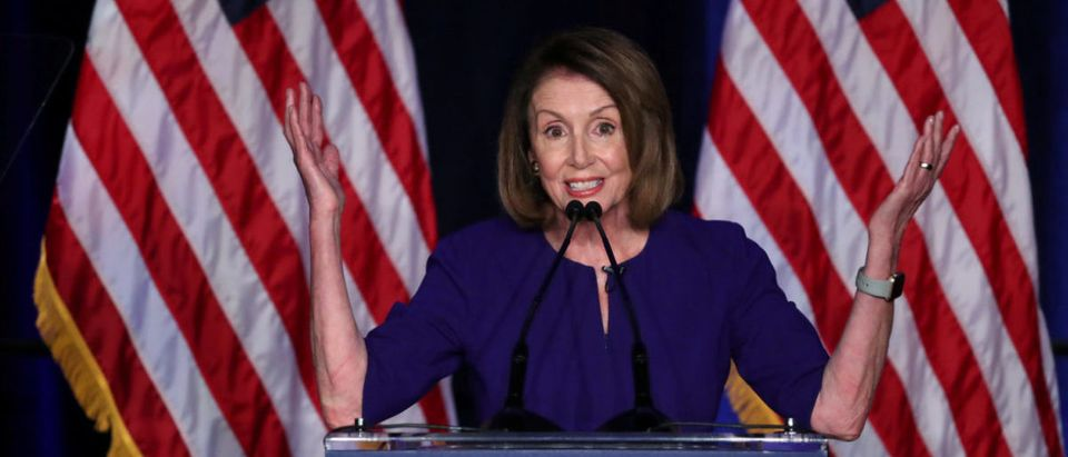 U.S. House Minority Leader Nancy Pelosi reacts to U.S. midterm election results in Washington