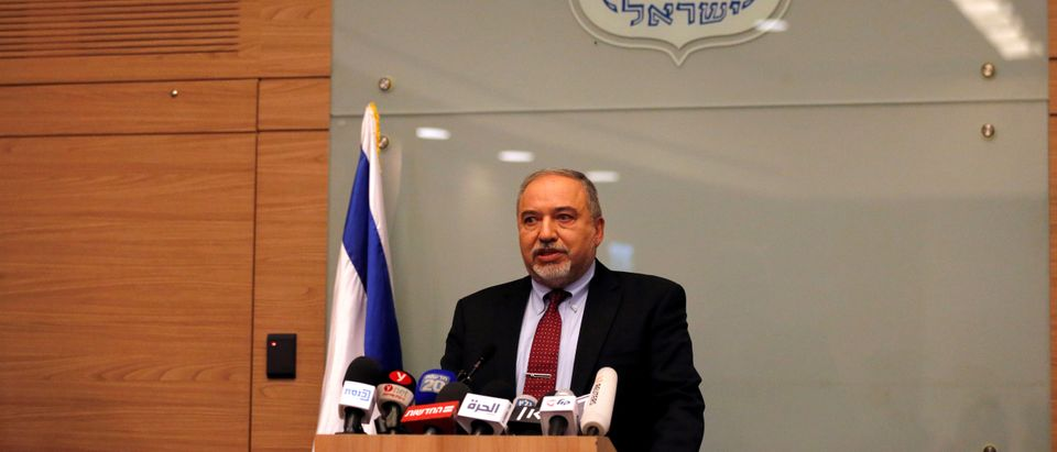 Israel's Defence Minister Avigdor Lieberman delivers a statement to the media following his party, Yisrael Beitenu, faction meeting at the Knesset, Israel's parliament, in Jerusalem