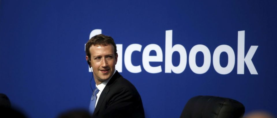 Facebook CEO Mark Zuckerberg is seen on stage during a town hall with Indian Prime Minister Narendra Modi at Facebook's headquarters in Menlo Park, California, on Sept. 27, 2015. REUTERS/Stephen Lam