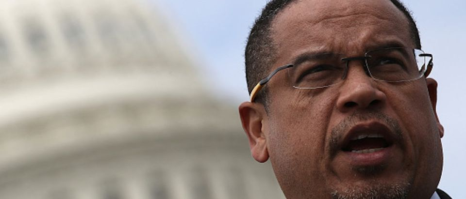 Rep. Keith Ellison (D-MN) waits to speak during a press conference outside the U.S. Capitol in opposition to the involvement of U.S. military forces in Syria March 21, 2017 in Washington, DC