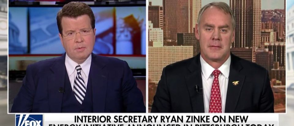 Ryan Zinke appears on Fox News with host Neil Cavuto. (YouTube/Secretary Ryan Zinke on energy initiative, Pennsylvania race)