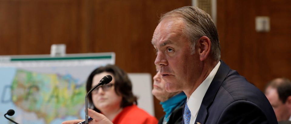 U.S. Interior Secretary Ryan Zinke testifies before a Senate Appropriations Interior, Environment, and Related Agencies Subcommittee hearing on the FY2019 funding request and budget justification for the Interior Department, on Capitol Hill in Washington, U.S., May 10, 2018. REUTERS/Yuri Gripas