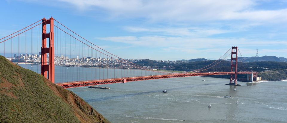 Feb 6, 2016; San Francisco, CA, USA; A general view of the Golden Gate Bridge and the skyline of downtown San Francisco prior to Super Bowl 50 between the Denver Broncos and the Carolina Panthers. Mandatory