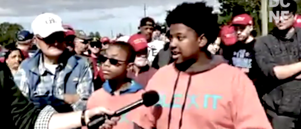 """A young black student and first time Republican voter was interviewed while wearing his """"Blexit"""" shirt. (Youtube)"""